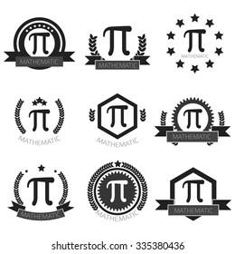 Mathematic Pi logo set.