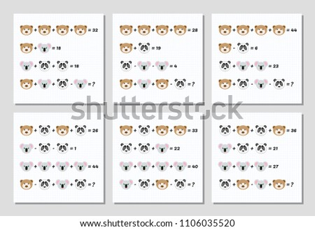 Mathematical Addition Subtraction Puzzle Set System Stock Vector