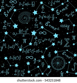 Mathematical astrophysical vector seamless pattern with formulas, figures and calculations handwritten on the background of stars. Scientific space endless texture