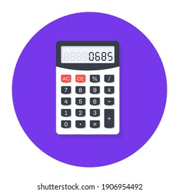 Mathematical calculation equipment in modern flat rounded style, calculator