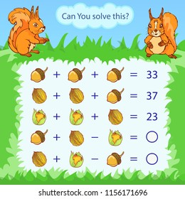 Mathematical count game for kids. Matching task with nuts and acorns. Can You solve this? Children funny riddle entertainment. Find right answer. Mathematics vector activity page and game.