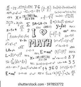Mathematical doodle handwriting, school education and document decoration, vector illustration