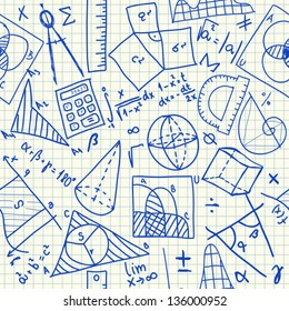 Mathematical doodles on school squared paper, seamless pattern
