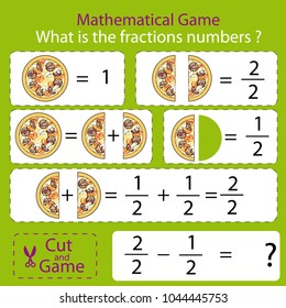 Mathematical educational tasks for kids. Study the fractions numbers. Children funny riddle entertainment. Math example. Sheet right answer. Activity game. Vector illustration.