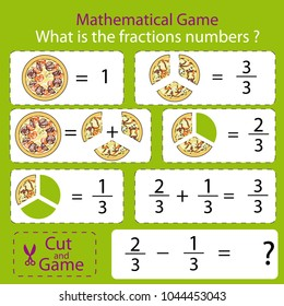 Mathematical educational tasks for kids. Study the fractions numbers. Children funny riddle entertainment with three parts pizza. Math example. Sheet right answer. Activity game. Vector illustration.