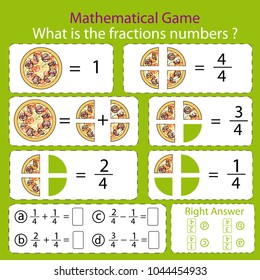 Mathematical educational tasks for kids. Study the fractions numbers. Children funny riddle entertainment with four parts pizza. Math example. Sheet right answer. Activity game. Vector illustration.
