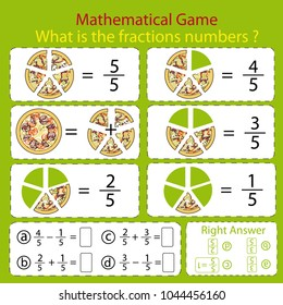 Mathematical educational tasks for kids. Study the fractions numbers. Children funny riddle entertainment with five parts pizza. Math example. Sheet right answer. Activity game. Vector illustration.
