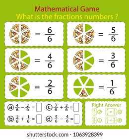 Mathematical educational tasks for kids. Study the fractions numbers. Children funny riddle entertainment with five parts pizza. Math count. Sheet right answer. Activity game. Vector illustration.