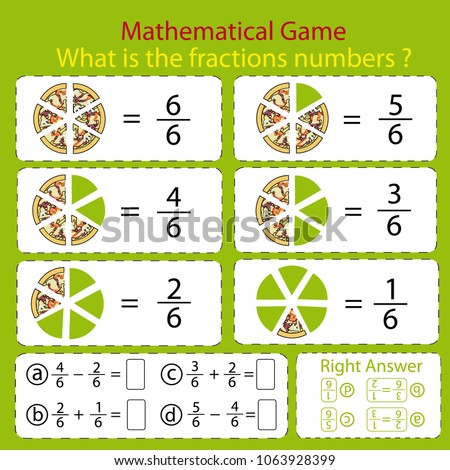 Mathematical Educational Tasks Kids Study Fractions Stock Vector