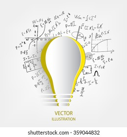 Mathematical equations and formulas around the light bulb on white background - vector illustration. Science. Doodle.