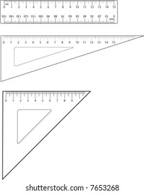 Mathematical equipment - ruler, sixty degree set square and forty five degree set square