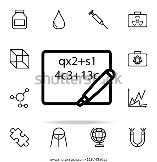 Mathematical Formula On Sheet Icon Science Stock Vector