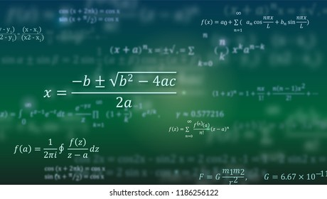 Mathematical formulas. Abstract green background with Math equations floating on blackboard. Pattern for cover, presentation, leaflets. Vector 3D illustration.