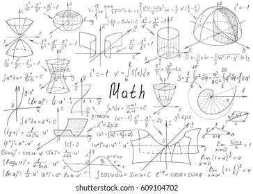 Mathematical formulas drawn by hand on a white chalkboard for the background. Vector illustration.