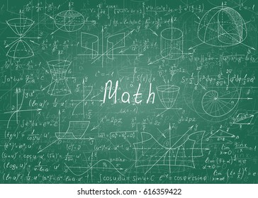 Mathematical formulas drawn by hand on a green unclean chalkboard for the background. Vector illustration.