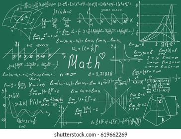 Mathematical formulas drawn by hand on the green chalkboard for the background. Vector illustration.