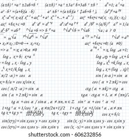 Mathematical formulas drawn on a squared sheet of notebook. Vector illustration.