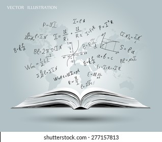 Mathematical formulas and graphs on the open book on the background map of the world. Mathematical concept. A book about physics. Vector illustration.