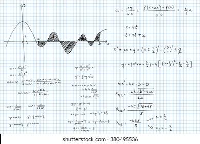 Mathematical formulas and graphs sketched - vector illustration