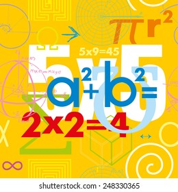 Mathematical formulas and symbols. Seamless vector pattern