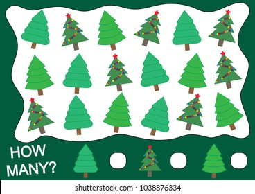 Mathematical game for children. How many Christmas tree (fir). Vector illustration.