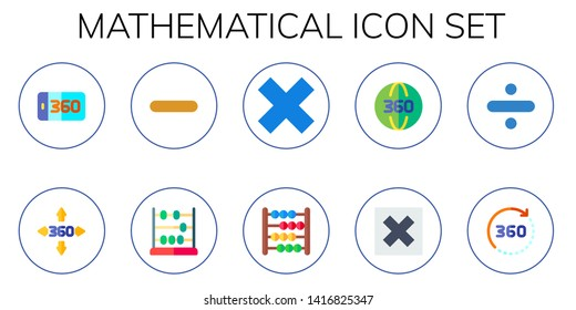 mathematical icon set. 10 flat mathematical icons.  Simple modern icons about  - degrees, minus, abacus, multiply, division