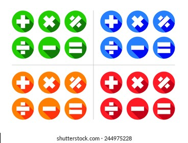 Mathematical Icon Set - Includes plus, minus, multiply, divide, equals and percentage icons set within circles with 45% angled shadows.