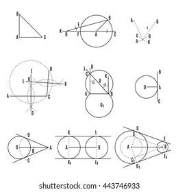 mathematical illustration. Geometric drawing set