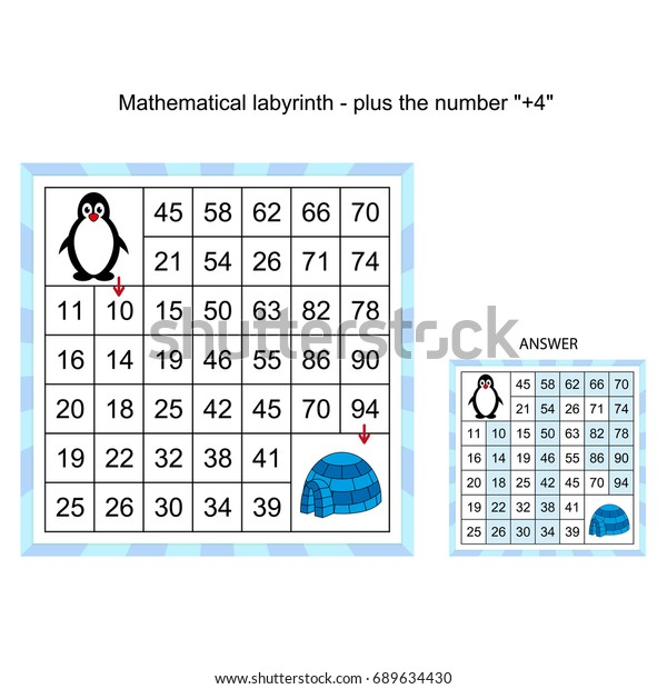 Mathematical Labyrinth Worksheet Plus Number 4 Stock Vector