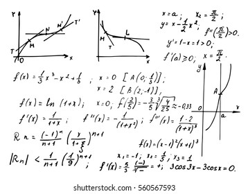 Mathematical  law theory and formula equation on whiteboard. Vintage education background.  Vector hand-drawn illustration.