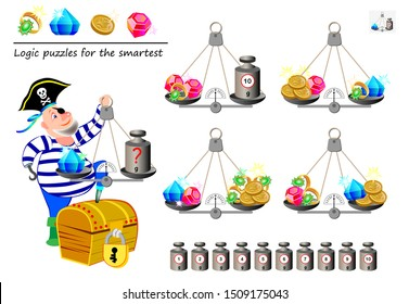 Mathematical logic puzzle game. Help the pirate calculate the weight of diamond. What weight must he put on weighing scales? Printable page for brain teaser book. Developing spatial thinking skills.