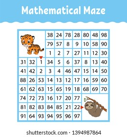 Mathematical maze. Game for kids. Funny labyrinth. Education developing worksheet. Activity page. Puzzle for children. Cartoon style. Riddle for preschool. Logical conundrum. Color vector illustration