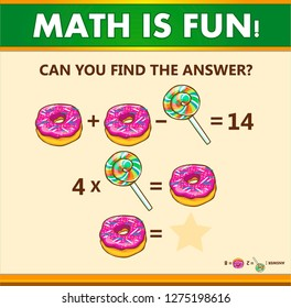 Mathematical riddle with answer. Vector illustration.