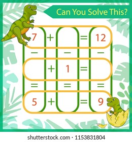 Mathematical riddle. Count game with cute cartoon dinosaurs. Solve a mathematics problem. Children funny entertainment. Kids game and activity page for book. Vector illustration.