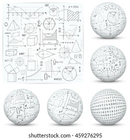 Mathematical and Scientific Math Formula Vector Symbols and Icons  - Flat and Textured 3D Sphere Design.