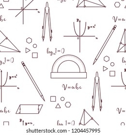Mathematical scientific vector seamless pattern with geometry plots, tools and formulas. Education. Compasses, protractor, pencil, graphics, straight, parabola, formulas, triangle, parallelogram.