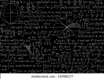 Mathematical seamless pattern with plots and equations. You can use any color of background