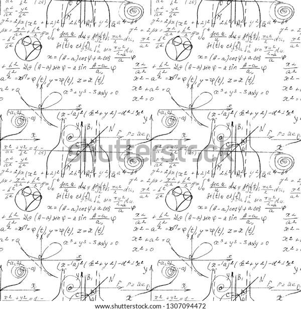 Mathematical Seamless Texture Handwritten Math Algebra Stock