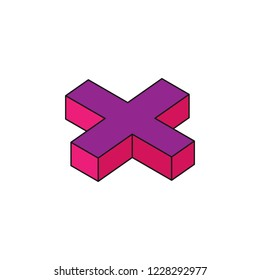 mathematical sign plus, 3D colored isometric icon. Element of 3d words and symbols icon for mobile concept and web apps. Isometric mathematical sign plus