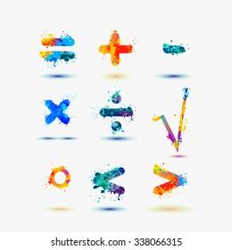 Mathematical signs. Splash paint