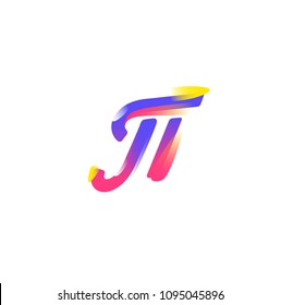 Mathematical symbol Pi. Vector icon. Gradient flat icon. The emblem of mathematicians is number 3.14. The Greek letter. An irrational, transcendental number.