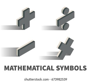 Mathematical symbols icon, vector symbol in isometric 3D style isolated on white background.