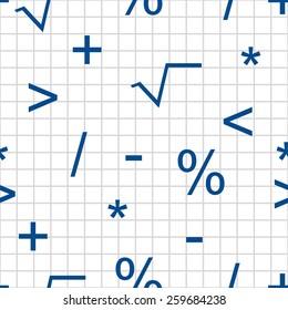 mathematical symbols seamless pattern