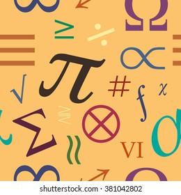 Mathematical symbols. Seamless vector pattern