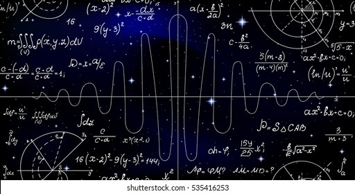 Mathematical vector endless seamless pattern with formulas, figures and calculations handwritten on the background of stars. Scientific space endless texture