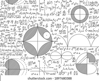 Mathematical vector scientific seamless texture with handwritten plots, formulas, figures, equations and calculations