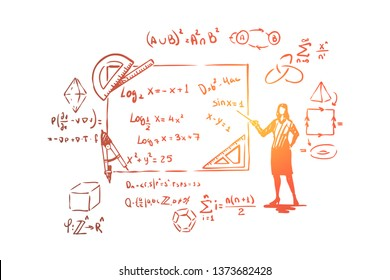 Mathematician with pointer, theorem proof, stationery tools,complex equations and formulas. Scientist occupation, mathematics teacher profession concept sketch. Hand drawn vector illustration