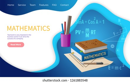 Mathematics algebra and geometry school discipline vector. Education in university, books and supplies, formulas and calculations, solving problems
