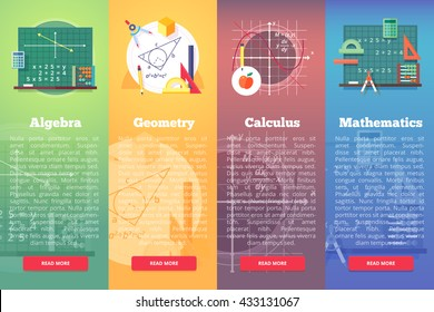 Mathematics banners. Flat vector education concept of math, algebra, calculus. Vertical layout composition.