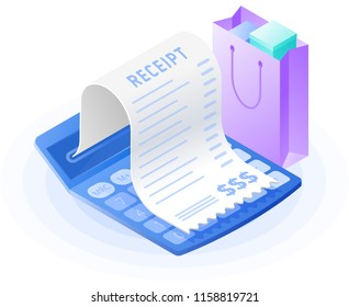 The mathematics calculator, paper bill payment, shopping bag. Flat vector isometric illustration. The web store, buying, paying, payment calculation, purchase invoice, receipt bill, business concept.